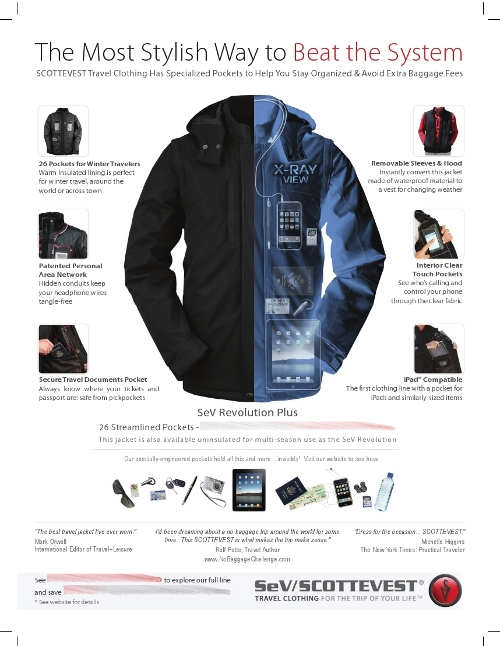 ScotteVest travel jacket and vest