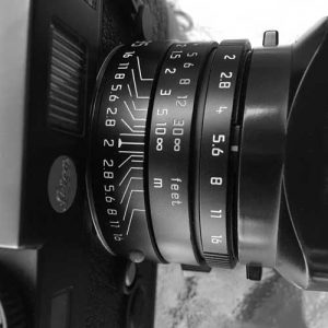 Leica lens f-stops and focus ring showing depth of field.
