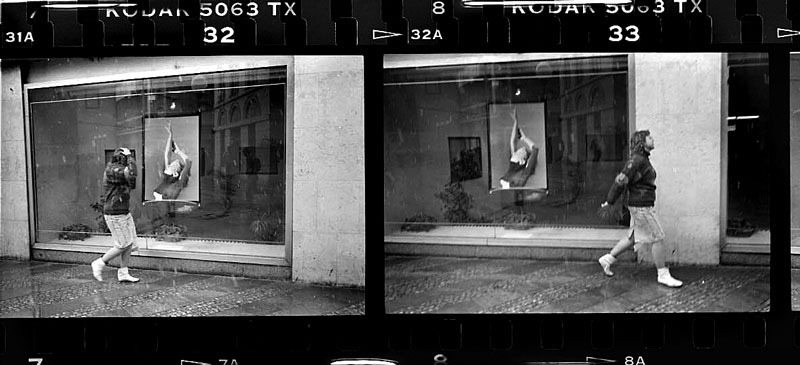 Contact sheet of woman walking past photo gallery Prague