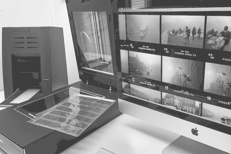 Digital scanning of contact sheets from negatives.