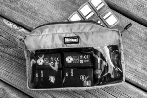 Think Tank bag with Leica battery charging accessories.