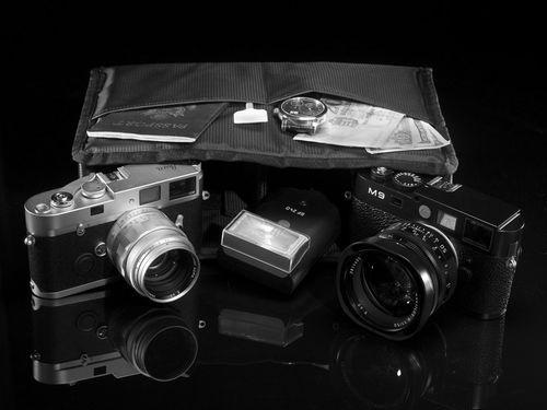 Black Label camera bag insert with Leica cameras.