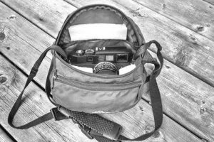Hip pack used as camera bag with Leica